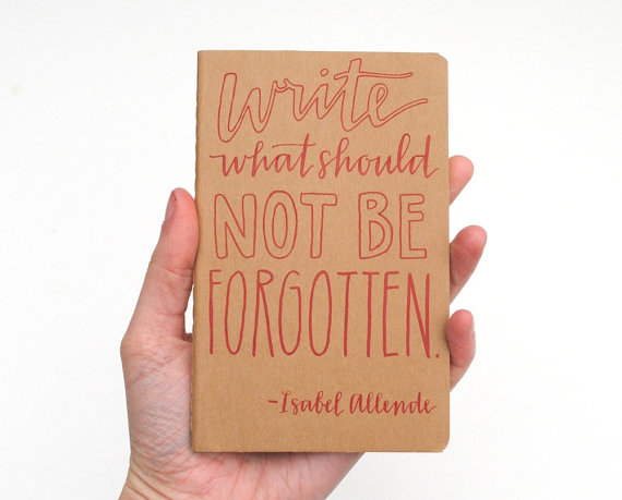 Pocket Moleskine . Hand-Lettered Calligraphy . Small Writing Journal . Red Ink on Brown Kraft . Write What Should Not Be Forgotten