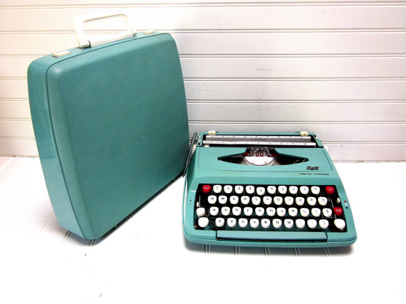 Vintage Typewriter Turquoise Blue Smith Corona Corsair DeLuxe Manual Baby Blue Typewriter