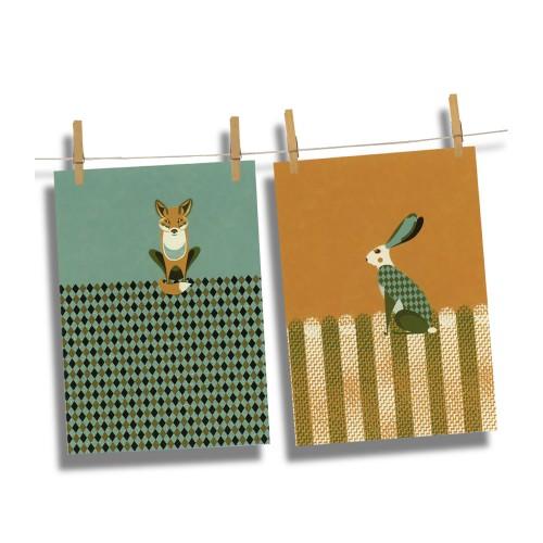 Magpie Dusk Wildlife Fox & Hare Tea Towels
