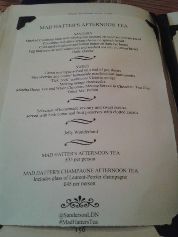 Mad Hatter's Afternoon Tea Menu