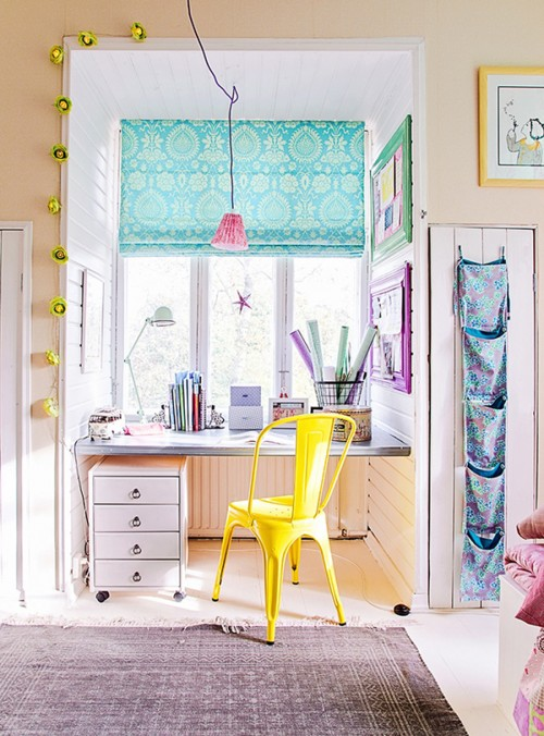 childrens bedroom with colourful blind and lamp1 e1394115140700 Interior Design Inspiration