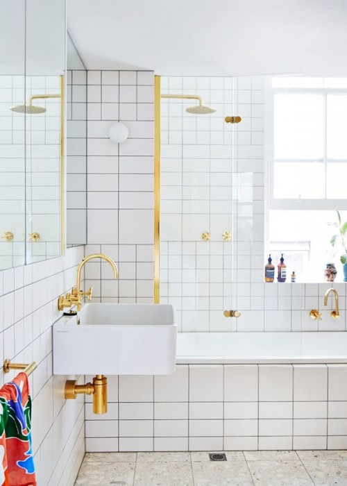 white and gold bathroom design files e1394113689449 Interior Design Inspiration