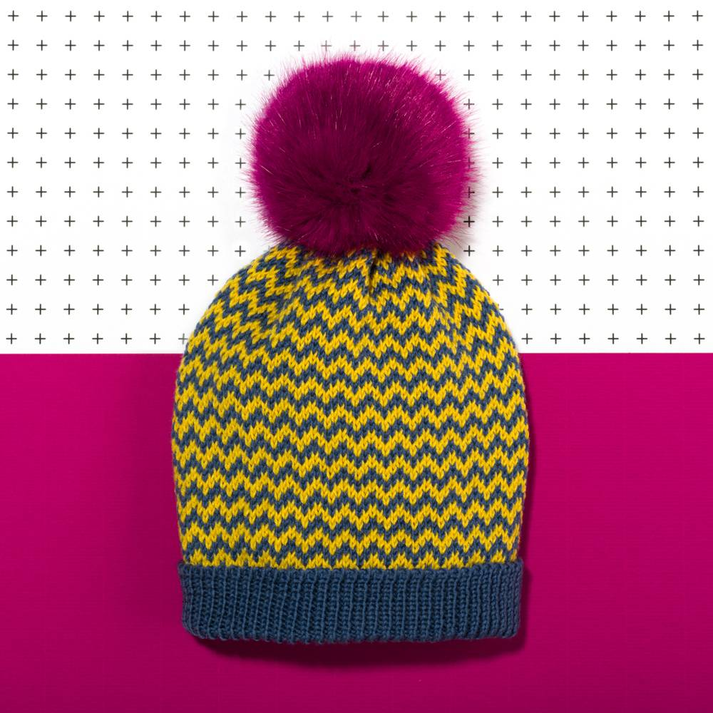 Pompom Bobble Hat Zigzag Blue