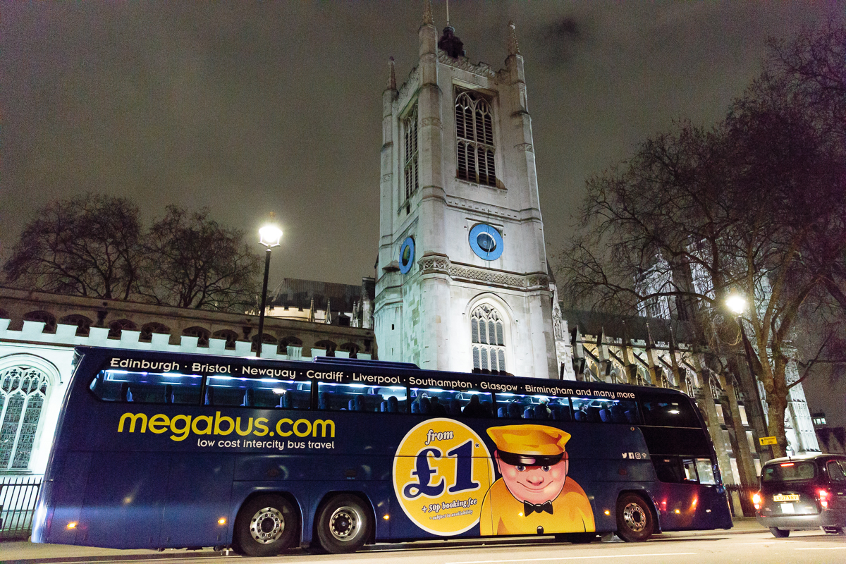 Megabus outside Westminister Abbey