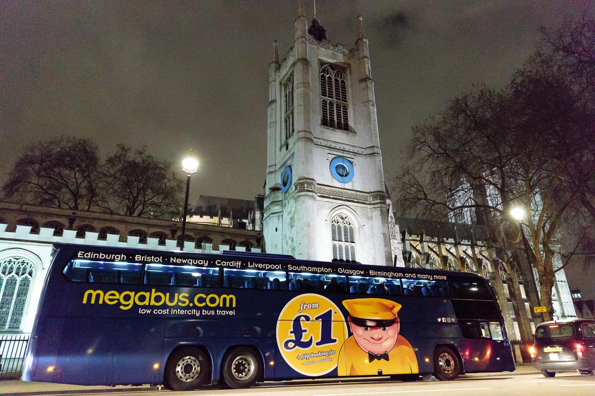 Megabus outside Westminister Abbey
