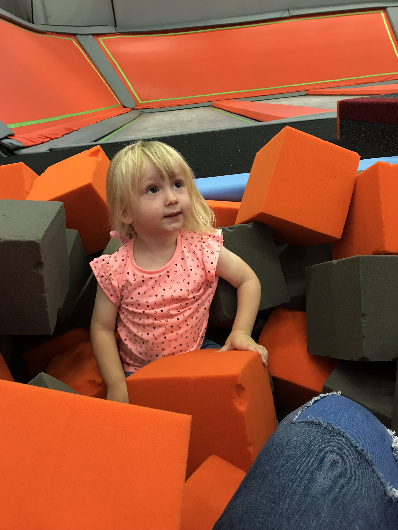 cece in the foam pit at the trampoline park