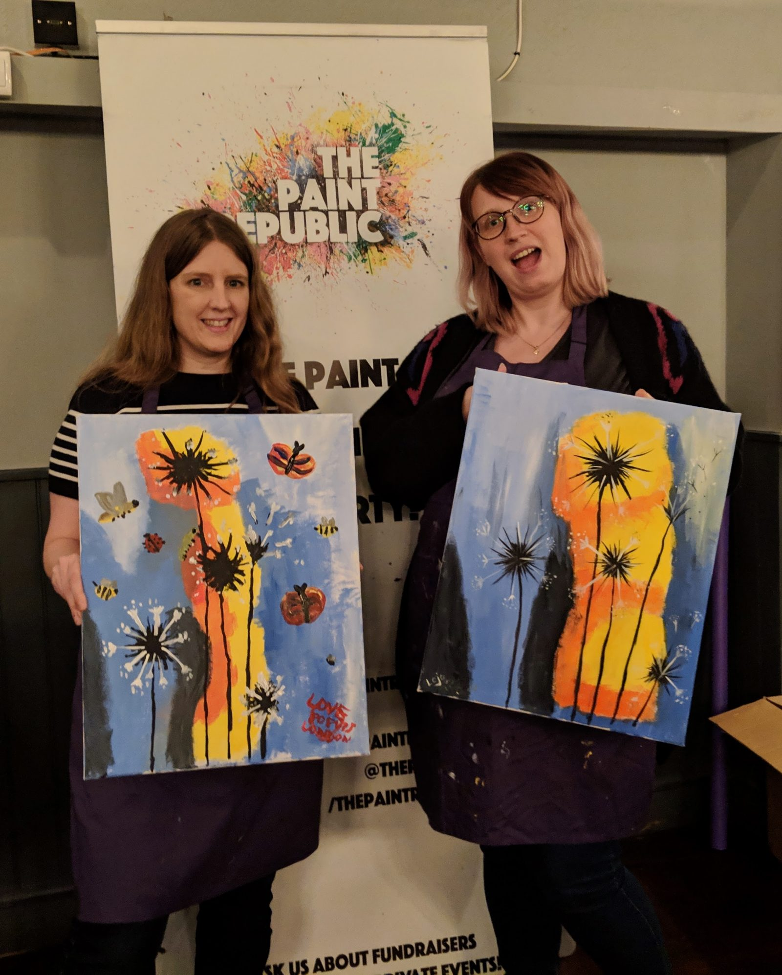 Jo and I with our paintings at The Paint Republic